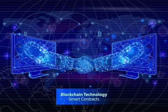 Blockchain Technology Contracts Poster Vector