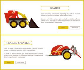 Loader and Trailed Sprayer Set Vector Illustration