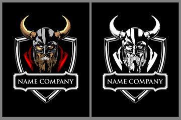 angry viking warrior character vector badge or crest logo template