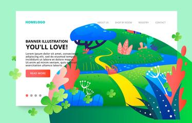 Modern fluid illustration for website. Web page design template nature concept.