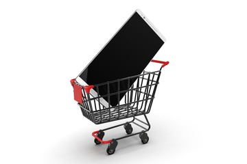 Shopping Cart with smartphone