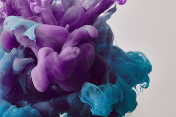 Wall Mural - abstract background with purple and blue swirls of paint