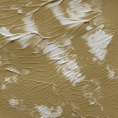 Gold acrylic paper textures on white background. Chaotic stylish abstract organic design.