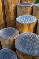 closeup of decorative wooden logs fence
