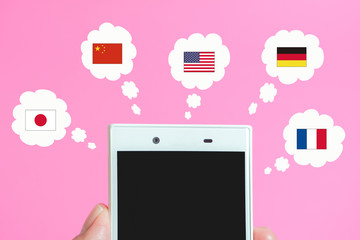 Smartphone and foreign countries. Image of SNS, translation, foreign site, foreign language...