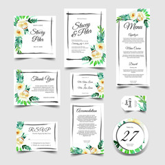 sweet wedding invitation set of watercolor floral white