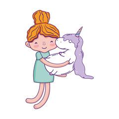 little girl with unicorn kawaii character
