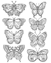 Set of various forms butterflies. Black and white