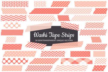Coral Pink Washi Tape Strips with Torn Edges & Different Patterns. 36 Unique Semitransparent Vectors. Photo Sticker, Print / Web Layout Element, Clip Art, Scrapbook Embellishment