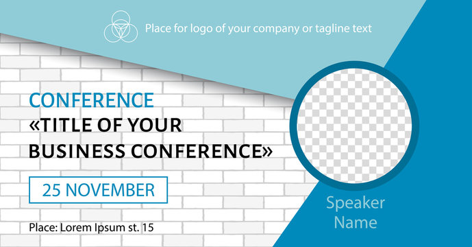 Corporate announcement facebook banner. Vector flyer template for business conference