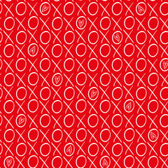 Fun red and white hand drawn hearts and hugs and kisses geometric vector pattern on vibrant red background. Fab for Valentines day, weddings, anniversaries, scrapbooking, giftwrap, stationery.