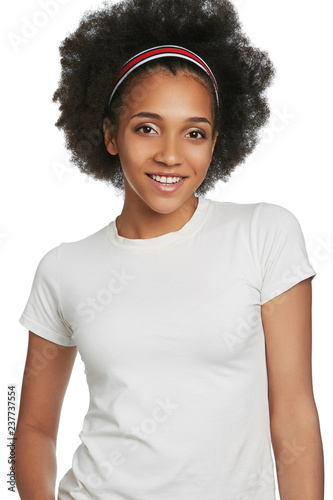 Three Quarter Portrait Of Smiling African Lady With Short Curly Hair
