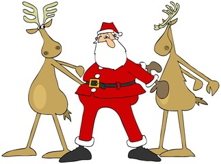 Santa and two reindeer doing the floss dance