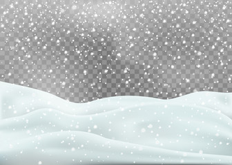 Snowy landscape isolated on white background. Vector illustration.