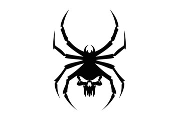 black spider skull logo tribal icon