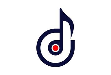 letter d eye music note logo icon