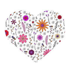 Vector floral heart with hand-drawn colorful violet,red,pink, orange bright flowers and branches isolated on white background. Floral texture with herbs in doodl style