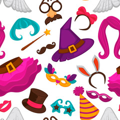 Carnival masks and costume accessories seamless pattern.