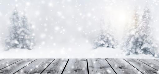 Fototapete - Verschneite Tannenbäume