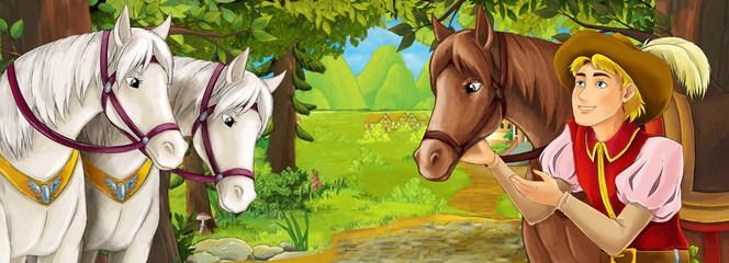 Cartoon nature scene with beautiful castle near the forest with beautiful young prince and horses - illustration for the children
