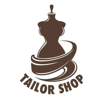 Tailor shop tailoring occupation in atelier mannequin logo