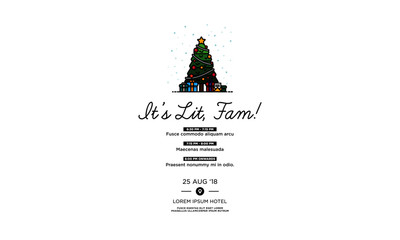 It's Lit Fam Christmas Tree Invitation in Flat Style Design