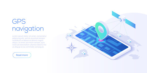 GPS navigation app concept in isometric vector illustration. Smartphone application for global positioning system. Satellite radionavigation or tracking system on mobile device.