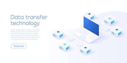 Data transfer via server isometric vector illustration. Abstract 3d datacenter or blockchain background. Network mainframe website header layout. Computer storage or farming workstation.