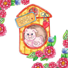 Sweet home piggy illustration.