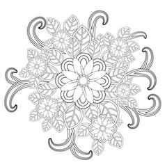 Doodle art flowers. Zentangle floral pattern. Hand-drawn herbal design elements.