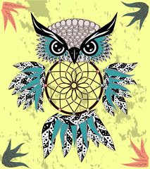Hand drawn dreamcatcher with an owl, feathers and all seeing eyes. Indian talisman in boho style. American ethnic symbol. Shamanism, religion, occultism.
