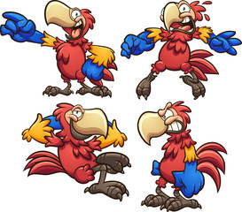 Cartoon red macaw in different poses. Vector clip art illustration with simple gradients. Each on a separate layer.
