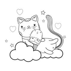 cute cat with ice cream