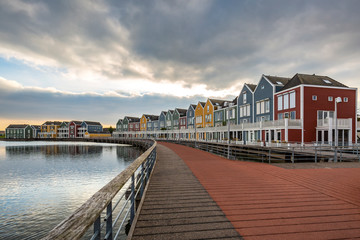 Dutch, modern, colorful vinex architecture style houses at waterside