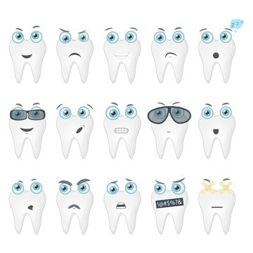 Set of teeth with different emotions. Icons collection of teeth emoji, faces with different expressions of emotions. Vector illustration.