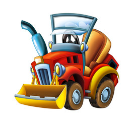 Cartoon farm tractor excavator - on white background - illustration for the children