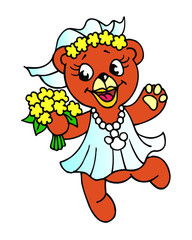 fairy bear in a dress dancing with flowers