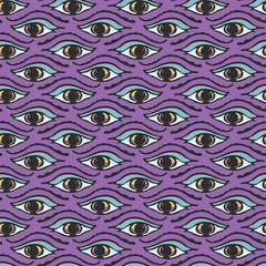 Magic All Seeing Eye Hand Drawn Seamless Vector Pattern Illustration. Esoteric Spiritual Eyes Symbols for Meditation Journal Background, Ritual Diary, New Age Spirit Wallpaper. Lilac Purple Blue