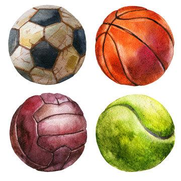 Watercolor illustration, set. Balls, football, volleyball, basketball, tennis ball.