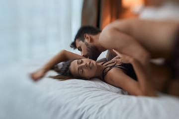 lovers have feeling pleasure in sex.