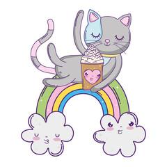 cute cat with ice cream in rainbow