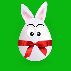 Cute rabbit egg character with green background, vector, illustration, eps file