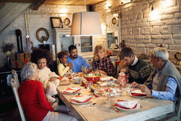 Group of diverse people are gathering for Christmas holiday.