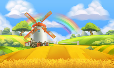 Nature landscape. Farm and mill. 3d vector background