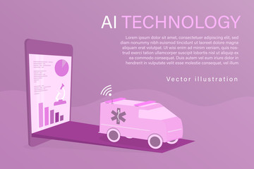 Healthcare and technology. Vector illustration for artificial intelligence, data analysis or medical technology.