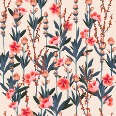 Beautiful Stylish Garden florals pattern in the many kind of flowers. Tropical botanical . Seamless vector texture.fashion prints. Printing with in hand drawn style