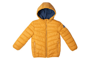 Childrens winter jacket. Stylish childrens yellow warm down jacket isolated on white background. Winter fashion. Wall mural