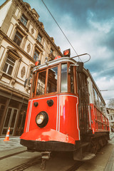 Nostalgic Red Tram At Tunel, Beyoglu, Istanbul, Turkey