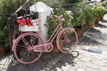 Pink bicycle with flowers on the walkway in front of the shop