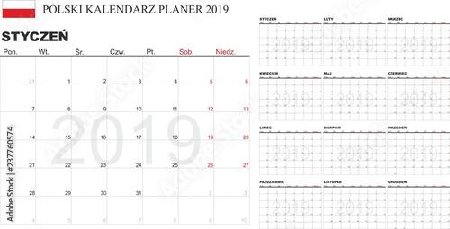 image regarding Printable Calendar Months titled Polish Calendar 2019, Kalendarz polski 2019, every month
